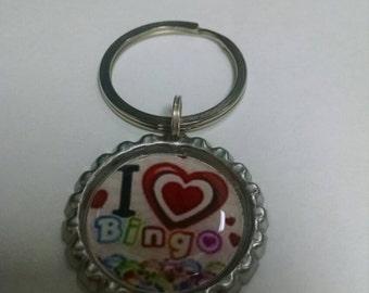 I Love Bingo Bottlecap Keyring Gift Idea!