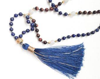 Tassel Necklace Long Bead Necklace Boho Jewelry Mala Bead Necklace Mala Necklace Mala Bead 108 Yoga Gifts Lapis Lazuli