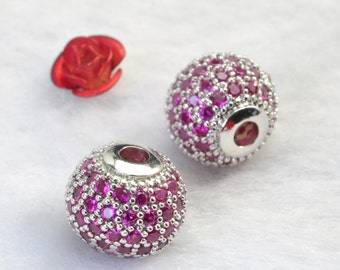 2 pcs of Copper Spacer,Rhinestone crystal jewelry,Antique Silver plated beads, round Connector beads in 10 mm