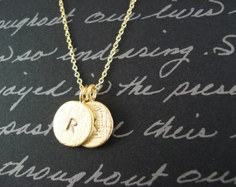 Initial Necklace...Gold personalized jewelry for bridesmaid gift, flower girl, simple everyday, bridal jewelry, wedding