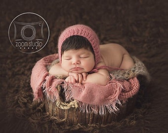 Prop new-born pink knit hat for photo props made with high quality cachemir wool