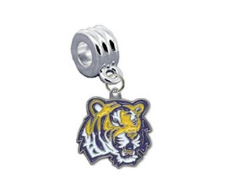LSU Louisiana State Tigers European Charm for Bracelet, Necklace & DIY Jewelry
