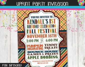 Fall Festival Birthday Party - Autumn Party - Invitation - Printable -