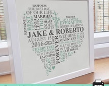 Printable File - Gay Wedding gift. Gay male wedding present. Unique word art picture. Personalised gay marriage gift. LGBT pride