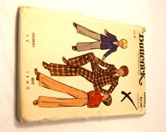 Vintage 1970s Butterick 6962 boys blazer jacket and pants suit sewing pattern