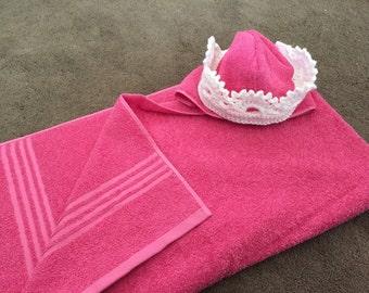 Princess Tiara hooded towel and bath mitt