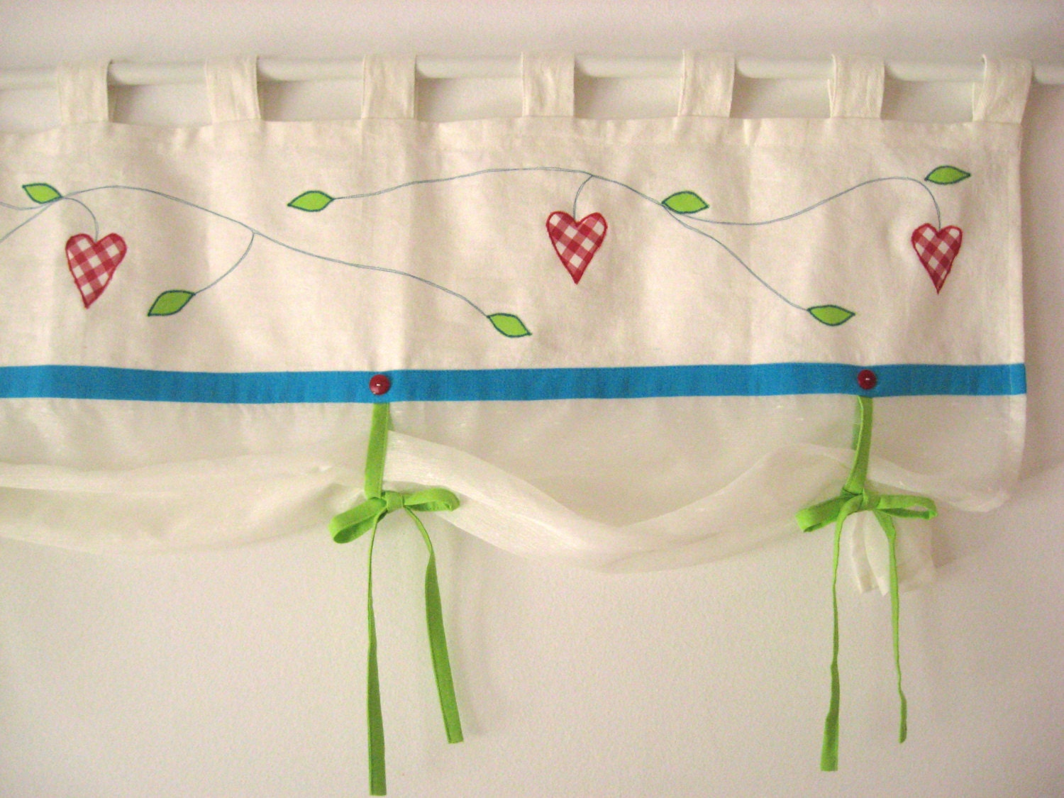 Red Lime Green Turquoise Valance Cottage Window Treatment Tie