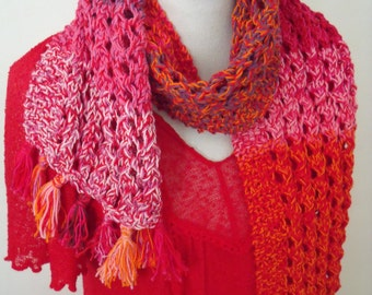 knitted cotton scarf in lace pattern, many shades of red (length 160 cm, width 22 cm)