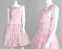 Vintage 50s Full Skirt Dress Baby Pink Dress Pastel Pink Dress Drop Waist Garden Party Dress Summer Dress Evening Dress 1950s Cocktail Dress