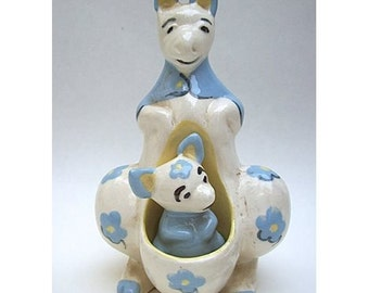 1950'S CLEMINSONS CALIFORNIA POTTERY Figural Salt and Pepper Shakers - Mama Kangaroo and Baby