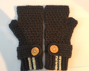 Large Grey with Cream fingerless gloves - Adult
