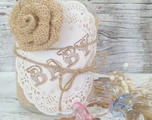 Vintage Baby Shower Decor for 10 Jars, Shabby Chic Baby Shower Centerpiece, Baby Burlap Mason Jar Centerpiece,  Dena Danielle Designs