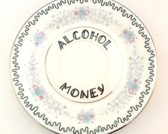 Alcohol Money Dish Trinket Holder Funny Gift for Her Something Blue Pretty Present Adult Humor Coming of Age Ring Earring Jewellery Floral
