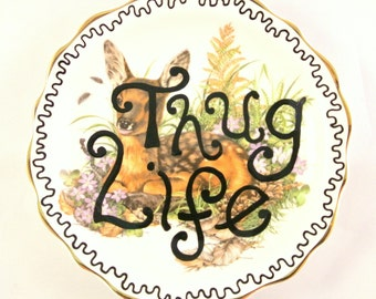 Thug Life Cute Little Ring Dish Ornamental Jewelry Holder Trinket Box Wildlife Deer Badger Faun Squirrel Animals Funny Gift for Her Present