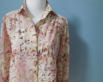 Vintage SHEER TOP van gogh shirt WATERCOLOR print blouse long sleeve button down shirt pink floral made in usa womens xs small