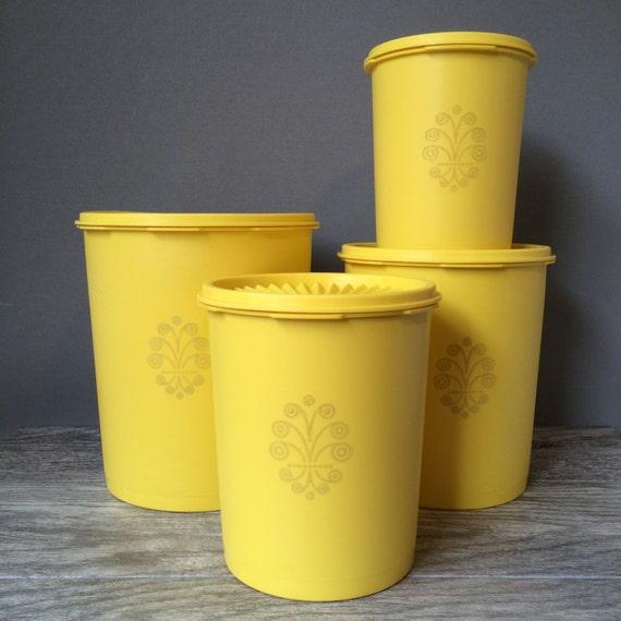 Yellow Kitchen Storage: Tupperware Servalier Lemon Yellow Nesting Canister Set Of