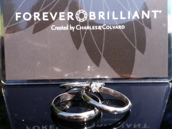 Fingerprint wedding set. Complete 3 piece set all 14k white gold. Included mens band, engagement, and wedding rings.
