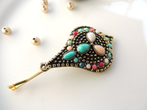 Colorful Authentic Antique hair pin bridal hairpin veil -> Authentic Style Pin Teinte Miel