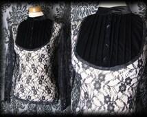 Gothic Black Sheer Lace Velvet Bib GOVERNESS High Neck Blouse 10 12 Victorian