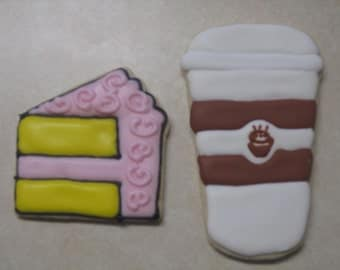 12 Latte and Cake Slice Cookies