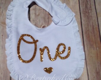 Gold One first Birthday bib/Gold first birthday bib/1st Birthday Girls Gold Glitter Bib
