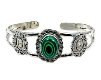 Malachite & .925 Sterling Silver Cuff Bracelet , AD367