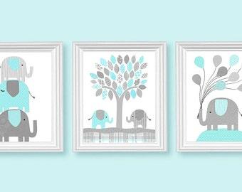 Elephant Nursery Decor, Aqua and Gray, Gender Neutral Room Decor, Children, Balloons, Baby's Room, Set of Three 3 Prints, Canvas Nursery Art
