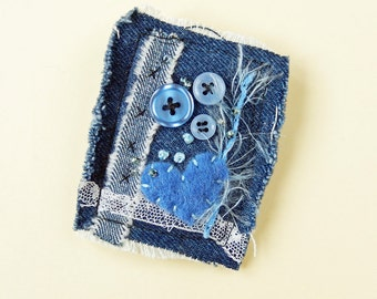 Denim Textile Fabric Brooch Pin, Buttons and Beads