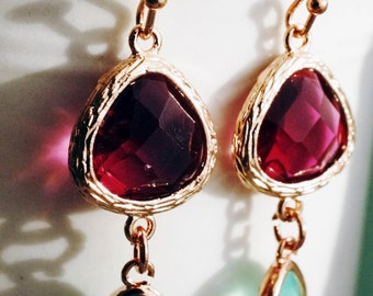 Earrings, Rose gold fuschia and mint crystal earrings