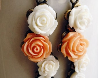 CLEARANCE 50% OFF Earrings, coral and ivory dangle earrings