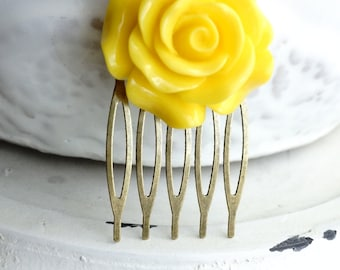 Hair Comb, Large Yellow Rose Flower hair comb.