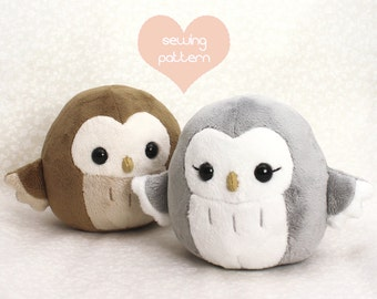 "PDF sewing pattern - Owl stuffed animal handheld size - cute easy kawaii anime DIY plush toy plushie 4.5"" handheld"