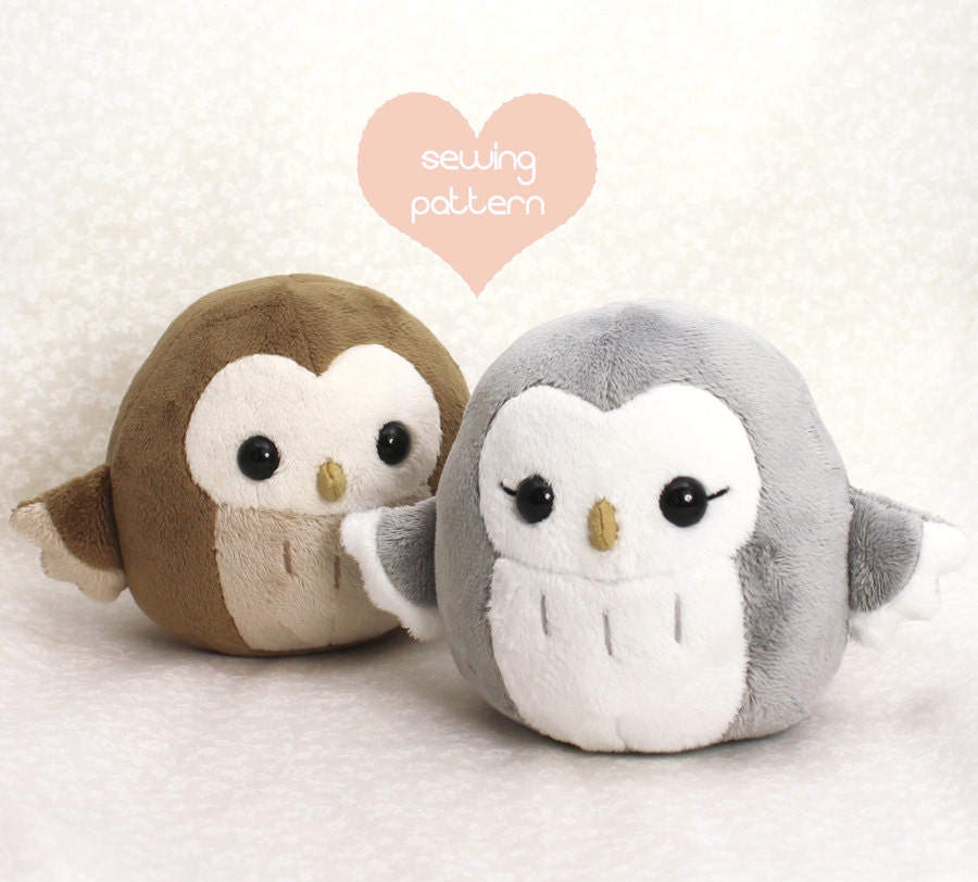 Pdf sewing pattern owl plush toy easy kawaii stuffed for Sewing templates for stuffed animals