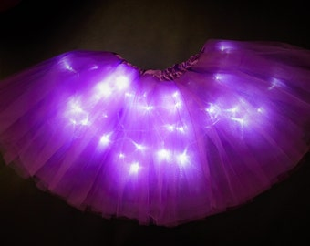 Adult Purple Light Up Tutu Skirt fits Women XS to XL