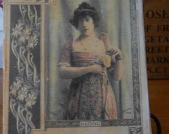 hanging wood sign edwardian lady postcard image shabby chic french decor handmade decorative
