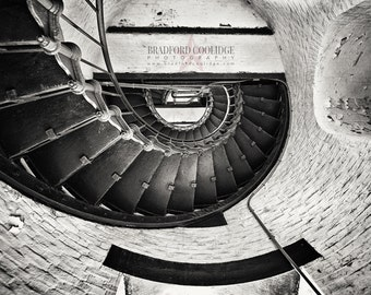 "Cape Hatteras Lighthouse Staircase (16"" x 24"" Sepia Matte Print)"