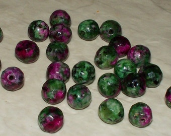 Faceted Ruby Zoisite Gemstone - 6MM