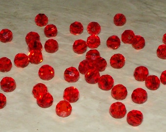 Faceted Red Glass Rounds - 4MM