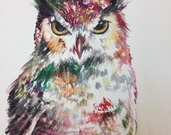 Original Owl watercolor: Great Horned Owl abstact painting 10x12""