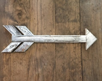 Distressed White Wooden Arrow - Rustic -