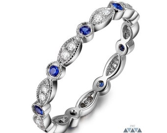 Diamond & Sapphire Art Deco Style Wedding Band 14k Gold