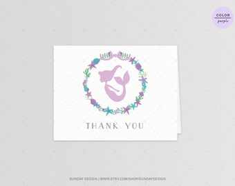 INSTANT DOWNLOAD / Mermaid Thank You Card - DIY Printable Digital File - Mermaid Birthday