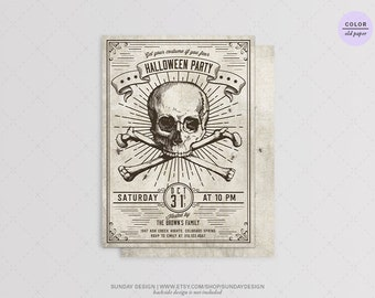 Vintage Skull Halloween Party Invitation - DIY Printable - Vintage Halloween Costume Party - Adult or Children