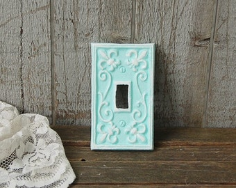 Switch Cover, Shabby Chic, Mint Green, White, Single, Wall Plate, Hand Painted, Ornate, Fleur de Lis, Cast Iron