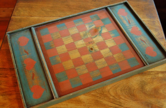 Hand Painted Wooden Checkerboard Rustic Folk Art Red