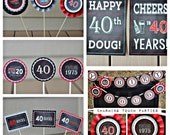 40TH BIRTHDAY DECORATIONS, Masculine party decor, Mens Birthday decorations, 40th party decor, Cheers to 40 Years, Black, Red, Gray, Vintage