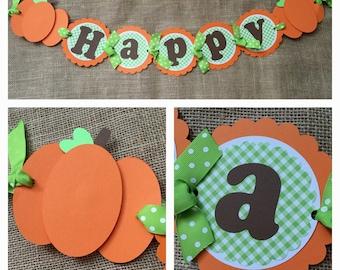 Pumpkin Birthday Banner, Fall Birthday Banner,  Pumpkin Party Banner, Pumpkin Birthday, Little Pumpkin Birthday Banner, First Birthday