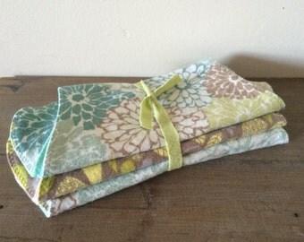 Dahlias & Birds Burp Rag Bundle - 3 pack