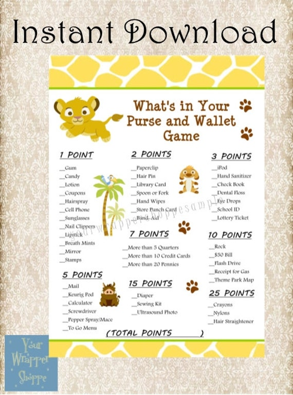 INSTANT DOWNLOAD Lion King Baby Shower By YourWrapperShoppe