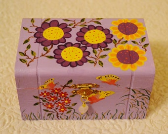Hand painted lilac with purple and yellow flowers and butterflies wooden box